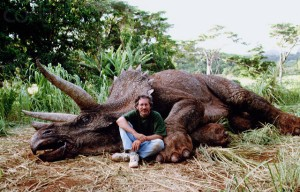 Director Steven Spielberg with Triceratops